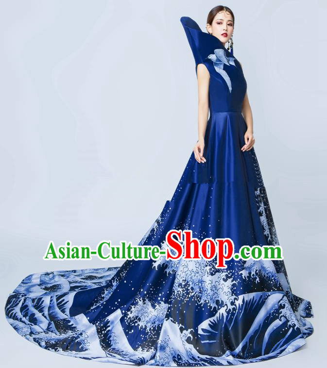 Top Grade Catwalks Royalblue Full Dress Chorus Compere Modern Dance Party Costume for Women