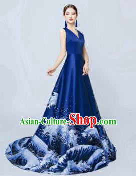 Top Grade Catwalks Costume Chorus Compere Modern Dance Party Royalblue Full Dress for Women