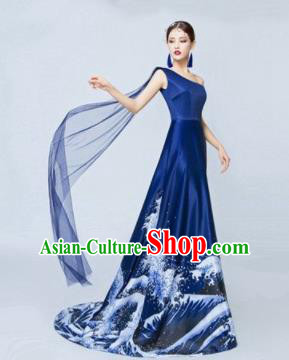 Top Grade Catwalks Costume Chorus Compere Modern Dance Party Royalblue Trailing Full Dress for Women