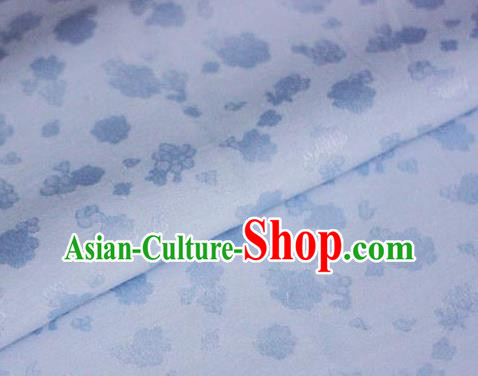 Asian Chinese Traditional Royal Flowers Pattern Blue Brocade Cheongsam Silk Fabric Chinese Satin Fabric Material