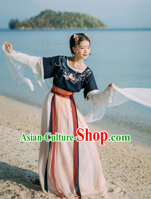 Chinese Ancient Palace Dancer Embroidered Hanfu Dress Traditional Tang Dynasty Court Maid Historical Costume for Women