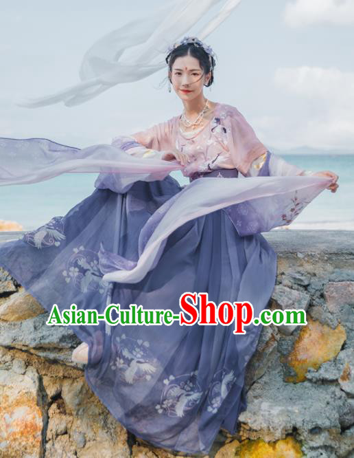 Chinese Ancient Peri Courtesan Embroidered Hanfu Dress Traditional Tang Dynasty Court Historical Costume for Women