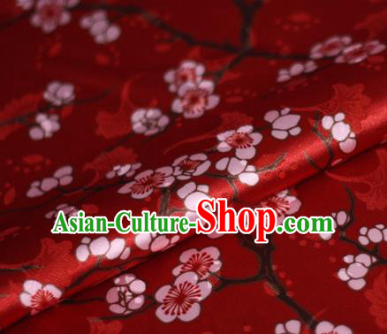 Chinese Classical Plum Blossom Pattern Design Red Brocade Cheongsam Silk Fabric Chinese Traditional Satin Fabric Material