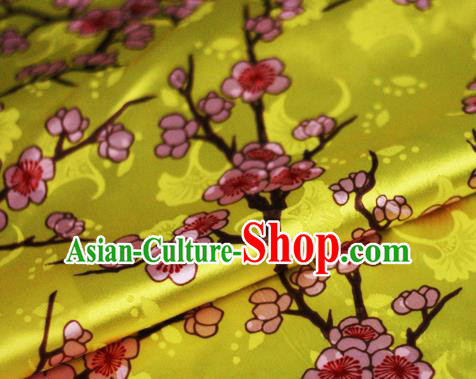 Chinese Classical Plum Blossom Pattern Design Yellow Brocade Cheongsam Silk Fabric Chinese Traditional Satin Fabric Material