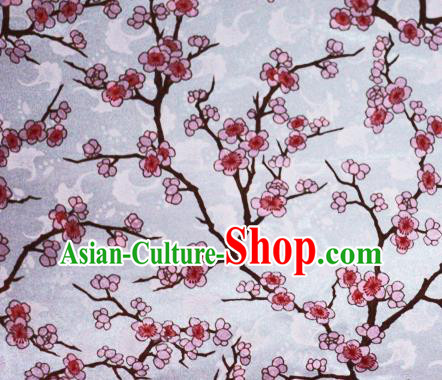 Chinese Classical Plum Blossom Pattern Design White Brocade Cheongsam Silk Fabric Chinese Traditional Satin Fabric Material