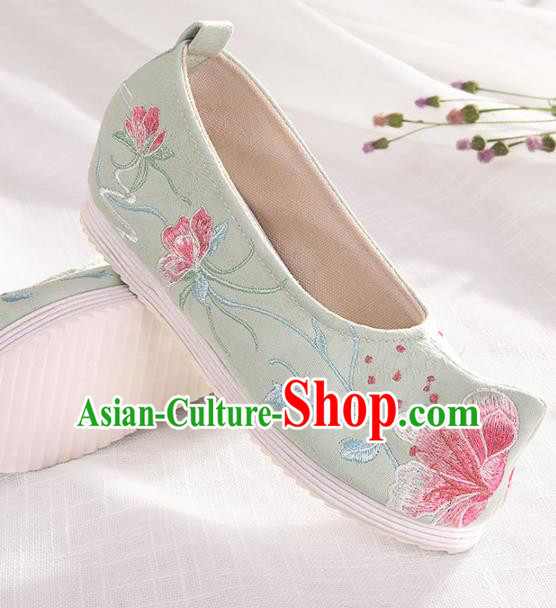 Chinese Traditional Hanfu Green Cloth Shoes Embroidered Shoes Handmade Ancient Princess Shoes for Women