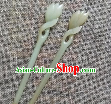 Chinese Handmade Jade Hairpins Carving Magnolia Jade Hair Clip Hair Accessories for Women for Men