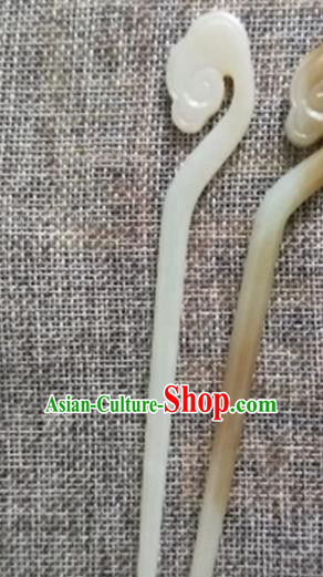 Chinese Handmade Jade Hairpins Carving Cloud Jade Hair Clip Hair Accessories for Women for Men