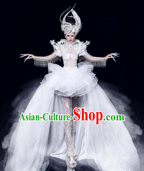 Handmade Modern Fancywork Stage Show Court White Trailing Dress Halloween Cosplay Queen Fancy Ball Costume for Women