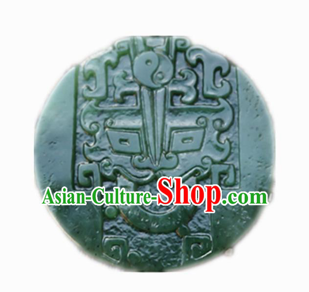 Handmade Chinese Ancient Jade Carving Beast Head Pendant Traditional Jade Craft Jewelry Decoration Accessories