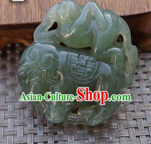 Chinese Handmade Jewelry Accessories Carving Elephant Green Jade Pendant Ancient Traditional Jade Craft Decoration