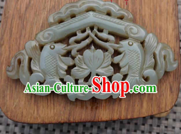 Chinese Handmade Jewelry Accessories Carving Double Fishes Jade Pendant Ancient Traditional Jade Craft Decoration