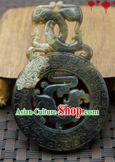 Chinese Handmade Jewelry Accessories Carving Dragons Gray Jade Pendant Ancient Traditional Jade Craft Decoration