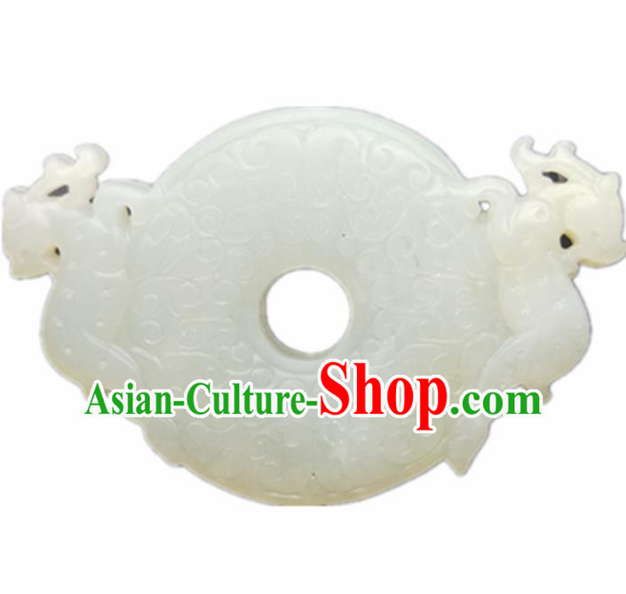 Chinese Handmade Jewelry Accessories Carving Dragons White Jade Pendant Ancient Traditional Jade Craft Decoration