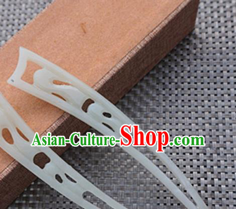 Chinese Handmade White Jade Carving Hair Clip Ancient Jade Hairpins Hair Accessories for Women for Men