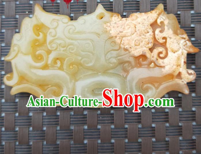 Chinese Handmade Jade Carving Dragon Beast Pendant Jewelry Accessories Ancient Traditional Jade Craft Decoration