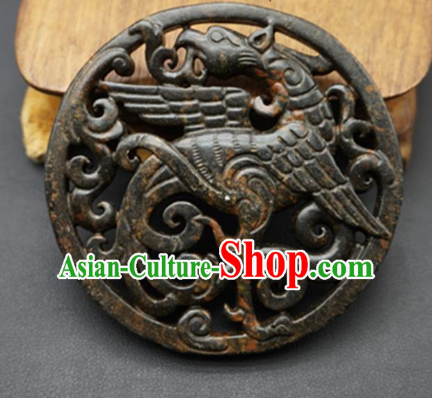 Chinese Handmade Jade Carving Phoenix Pendant Jewelry Accessories Ancient Traditional Jade Craft Decoration