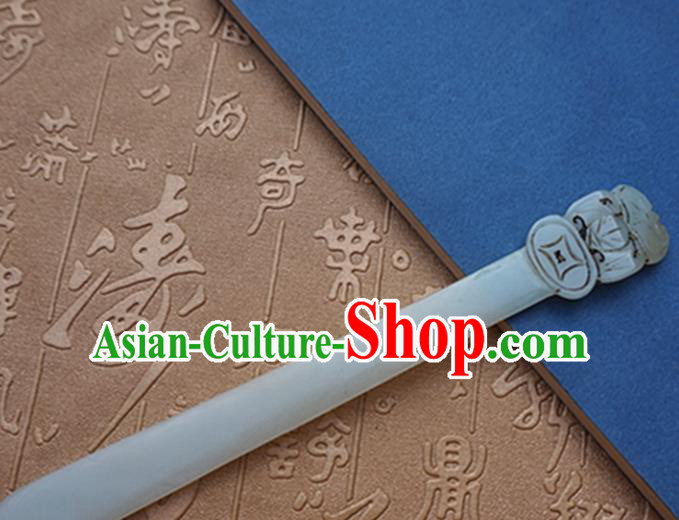 Chinese Handmade Jade Carving Bat Hair Clip Ancient Jade Hairpins Hair Accessories for Women for Men