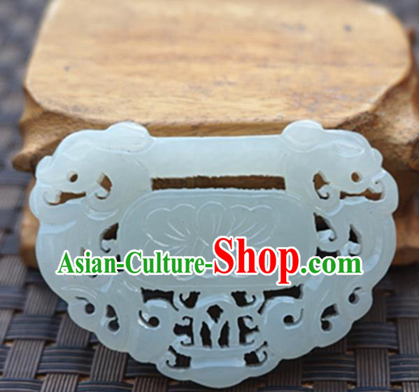 Chinese Handmade White Jade Carving Lotus Pendant Jewelry Accessories Ancient Traditional Jade Craft Decoration
