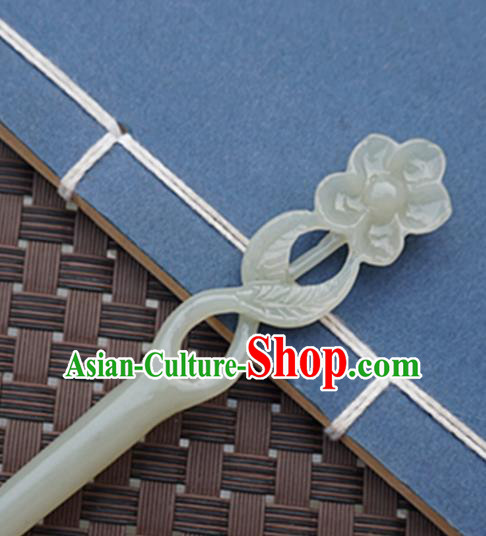 Chinese Handmade Jade Carving Flower Hair Clip Ancient Jade Hairpins Hair Accessories for Women for Men