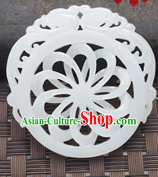 Chinese Handmade Jade Carving Sunflower Pendant Jewelry Accessories Ancient Traditional Jade Craft Decoration
