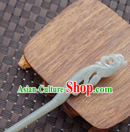 Chinese Handmade Jade Carving Phoenix Hair Clip Ancient Jade Hairpins Hair Accessories for Women for Men
