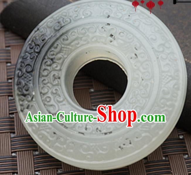 Handmade Chinese Ancient Jade Carving Ring Pendant Traditional Jade Craft Jewelry Decoration Accessories