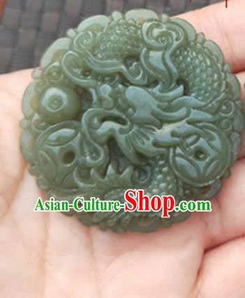 Handmade Chinese Ancient Carving Dragon Jade Pendant Traditional Jade Craft Jewelry Decoration Accessories