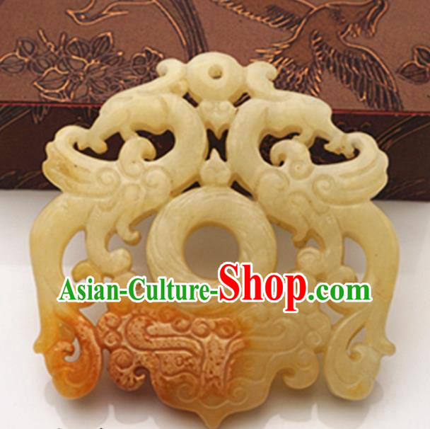Chinese Ancient Wedding Accessories Carving Phoenix Jade Pendant Traditional Handmade Jade Craft Jewelry Decoration
