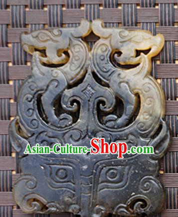 Chinese Ancient Carving Dragon Gray Jade Pendant Traditional Handmade Jade Craft Jewelry Decoration Accessories