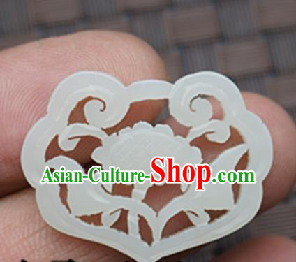 Chinese Ancient Wedding Accessories Carving Peony Jade Pendant Traditional Handmade Jade Craft Jewelry Decoration