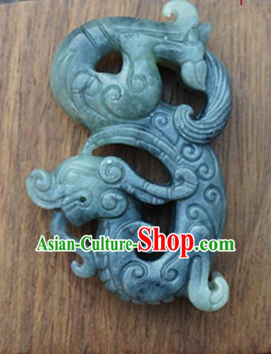 Chinese Ancient Jewelry Accessories Carving Pi Xiu Jade Pendant Traditional Handmade Jade Craft Decoration