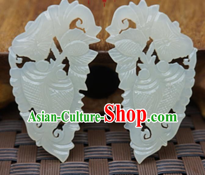 Chinese Ancient Jewelry Accessories Carving Fishes Jade Pendant Traditional Handmade Jade Craft Decoration