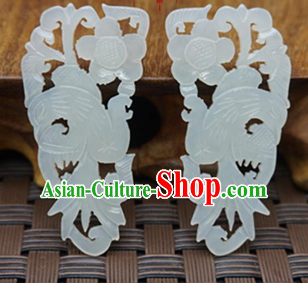 Chinese Ancient Jewelry Accessories Carving Birds Jade Pendant Traditional Handmade Jade Craft Decoration