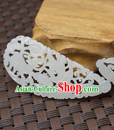 Chinese Handmade Jade Pendant Carving Phoenix Jewelry Accessories Ancient Traditional Jade Craft Decoration