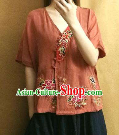 Traditional Chinese Embroidered Peony Brown Blouse Upper Outer Garment Tang Suit Shirt National Costume for Women