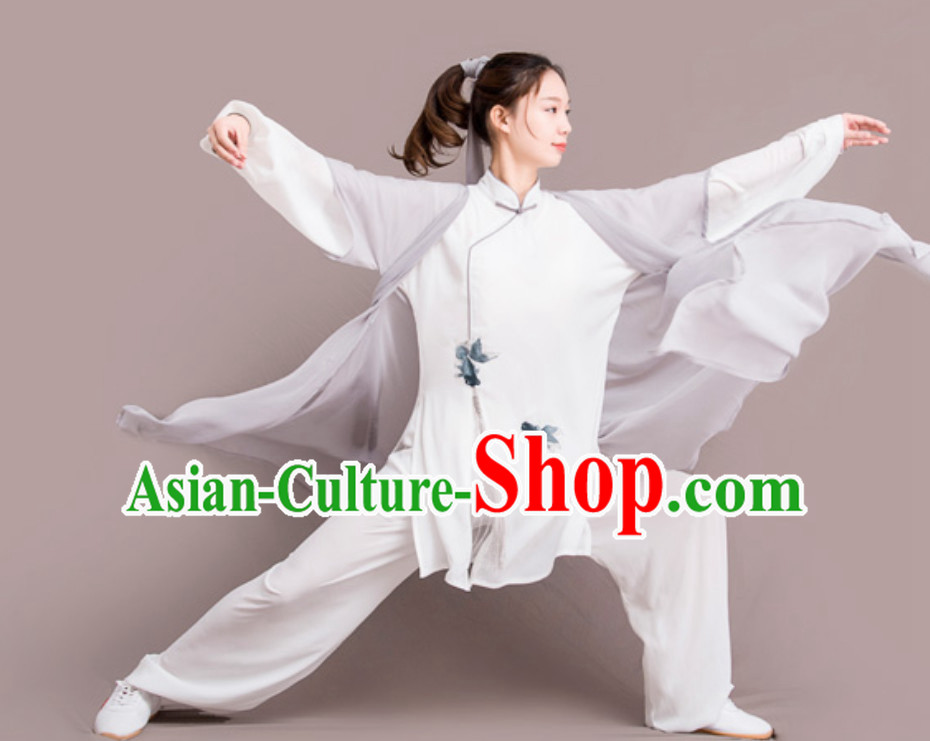 Fish Good Meaning Top Chinese Classical Competition Championship Professional Tai Chi Uniforms Clothing and Mantle Complete Set