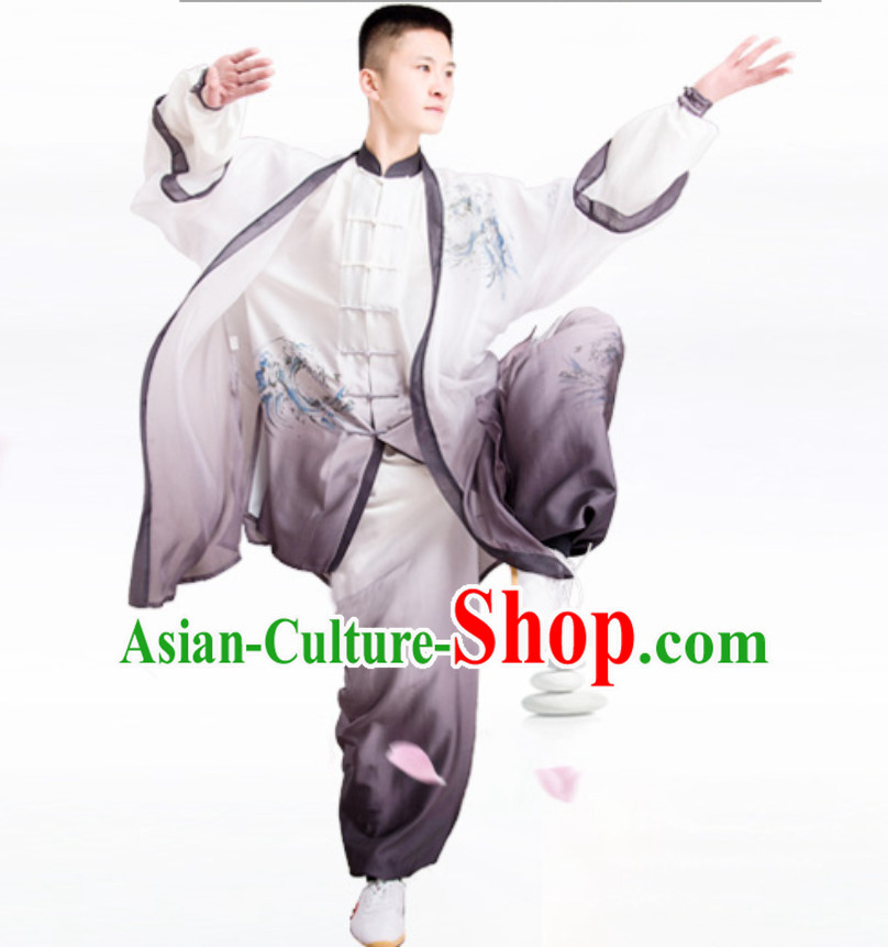 Eagle Good Meaning Top Chinese Classical Competition Championship Professional Tai Chi Uniforms Clothing and Mantle Complete Set for Men