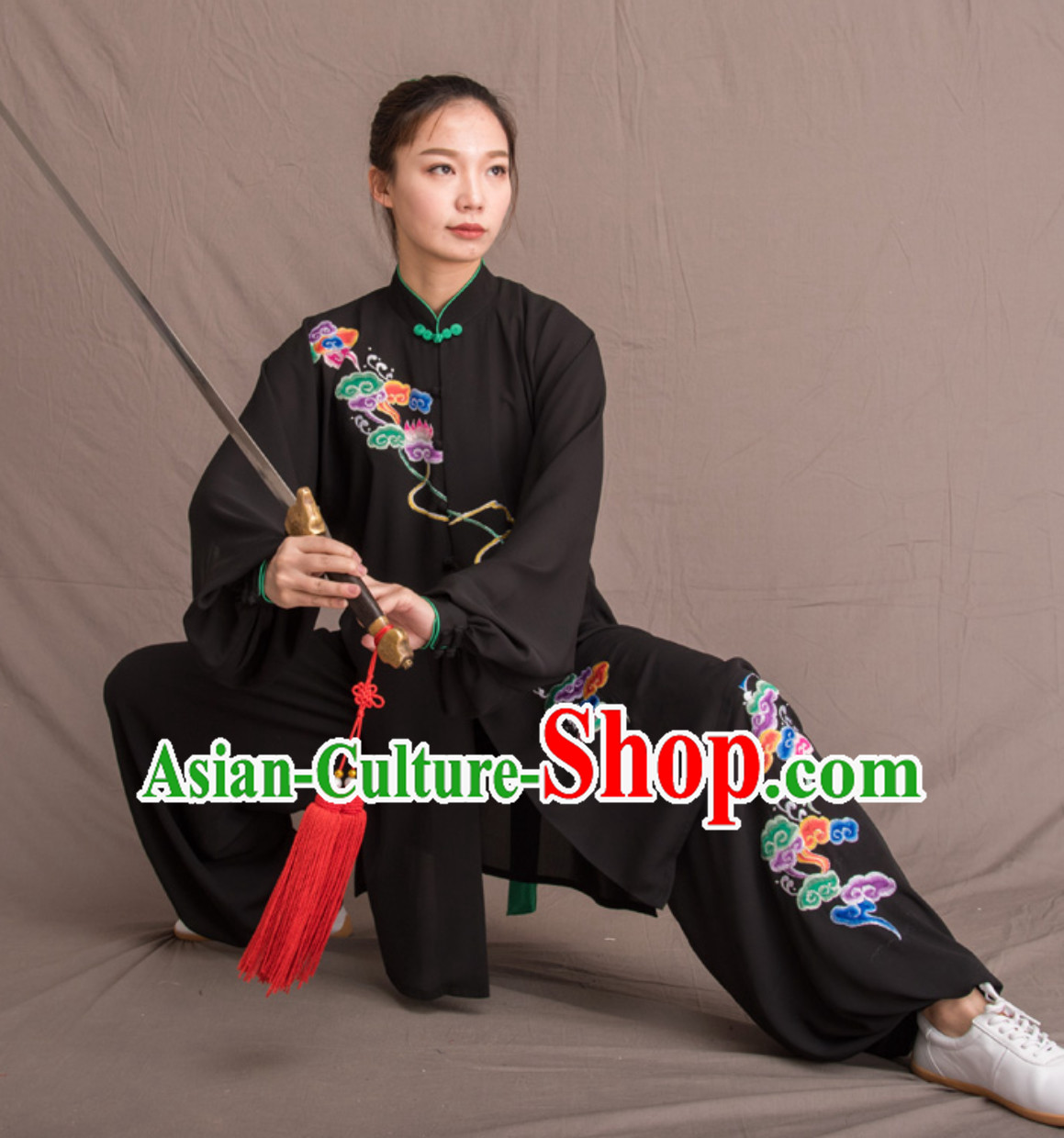 Black Top Chinese Classical Competition Championship Professional Tai Chi Uniforms Taiji Kung Fu Wing Chun Kungfu Tai Ji Sword Master Dress Clothing Suits Clothing Complete Set