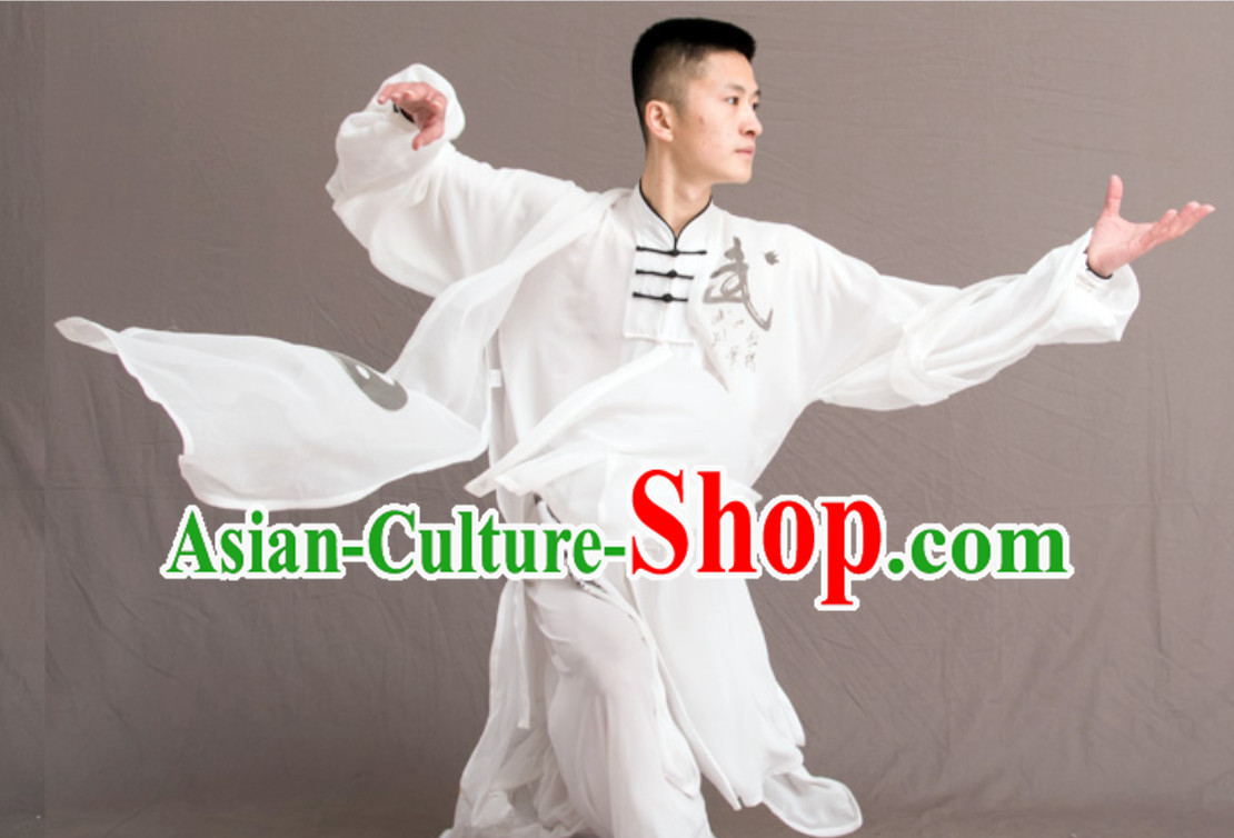 Yin Yang Top Chinese Classical Competition Championship Professional Tai Chi Uniforms Taiji Kung Fu Wing Chun Kungfu Tai Ji Sword Master Dress Clothing Suits Clothing Clothes Complete Set