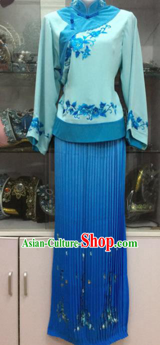 Handmade Chinese Beijing Opera Costume Peking Opera Actress Blue Dress for Women