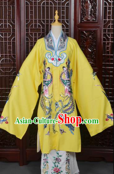 Handmade Chinese Beijing Opera Queen Yellow Costume Peking Opera Actress Dress for Women