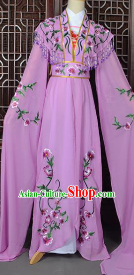 Handmade Chinese Beijing Opera Princess Costume Peking Opera Actress Embroidered Purple Dress for Women