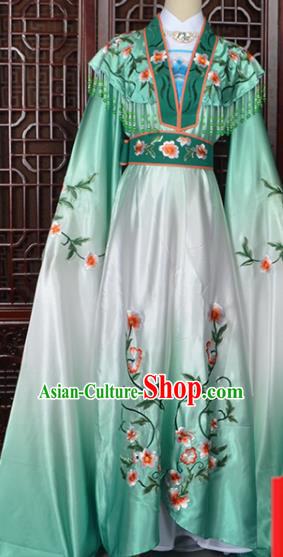 Handmade Chinese Beijing Opera Princess Costume Peking Opera Actress Embroidered Green Dress for Women