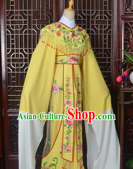 Handmade Chinese Beijing Opera Actress Costume Peking Opera Princess Embroidered Yellow Dress for Women