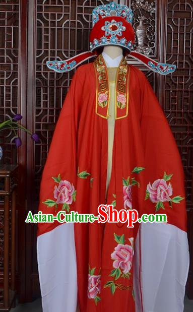 Handmade Chinese Beijing Opera Niche Red Costume Peking Opera Scholar Clothing for Men