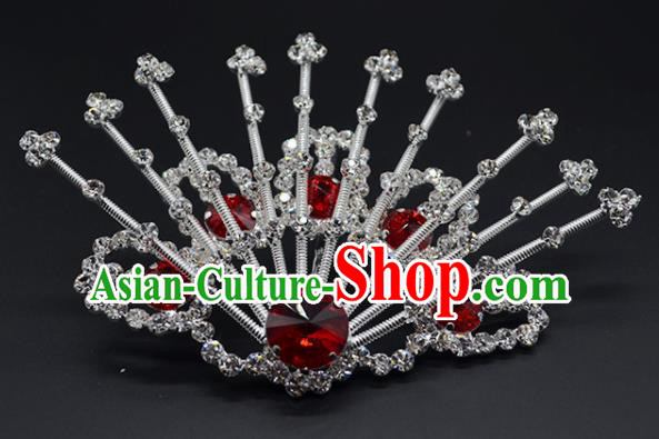 Chinese Handmade Beijing Opera Red Crystal Hairpins Traditional Ancient Princess Hair Accessories for Women