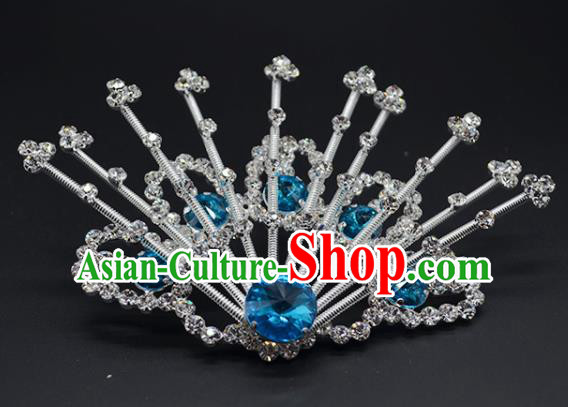 Chinese Handmade Beijing Opera Blue Crystal Hairpins Traditional Ancient Princess Hair Accessories for Women