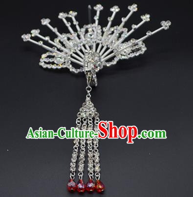 Chinese Handmade Beijing Opera Crystal Phoenix Hairpins Traditional Ancient Princess Hair Accessories for Women
