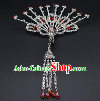 Chinese Handmade Beijing Opera Red Crystal Phoenix Hairpins Traditional Ancient Princess Hair Accessories for Women